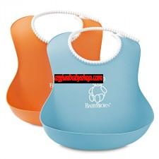 BabyBjörn 軟膠防碎屑圍兜 (2件裝) (橙/藍)